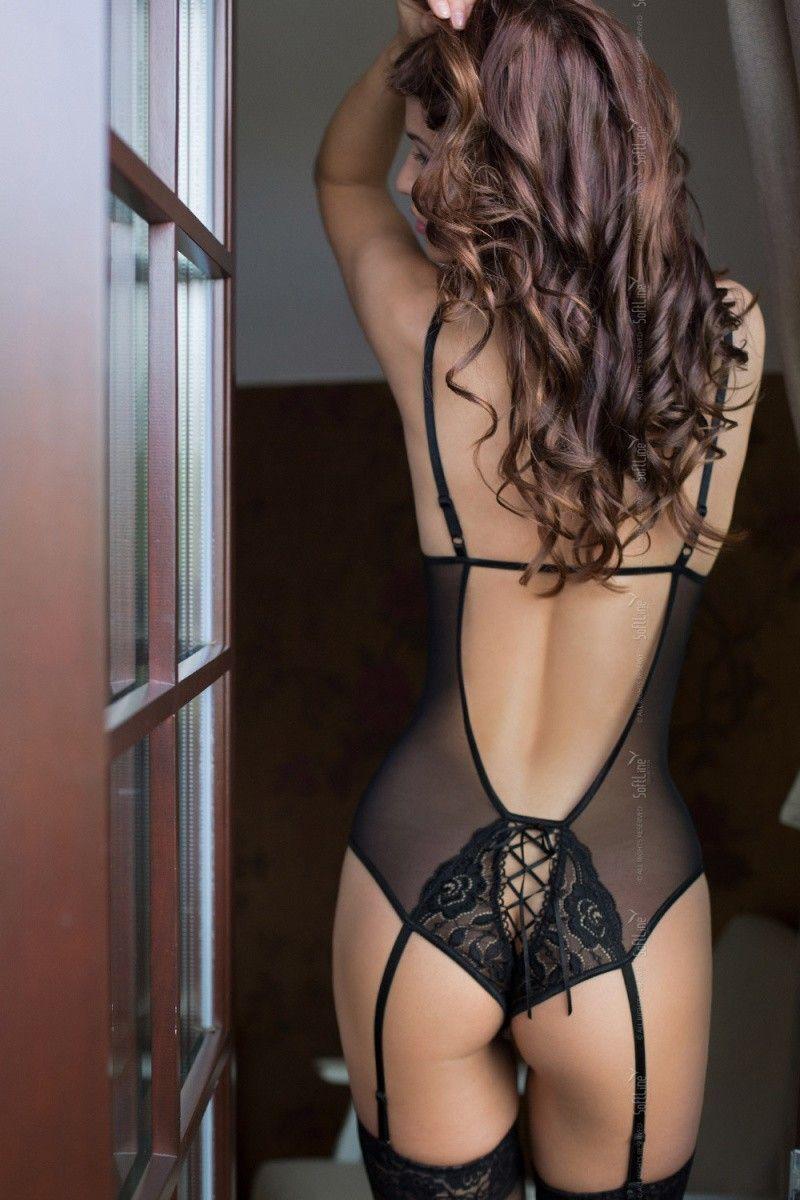 Боди с подвязками для чулок SoftLine Collection Tina, чёрный, M/L