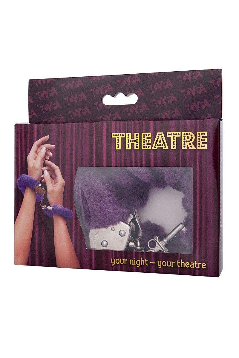 Наручники TOYFA Theatre, меховые, фиолетовые, 28 см.