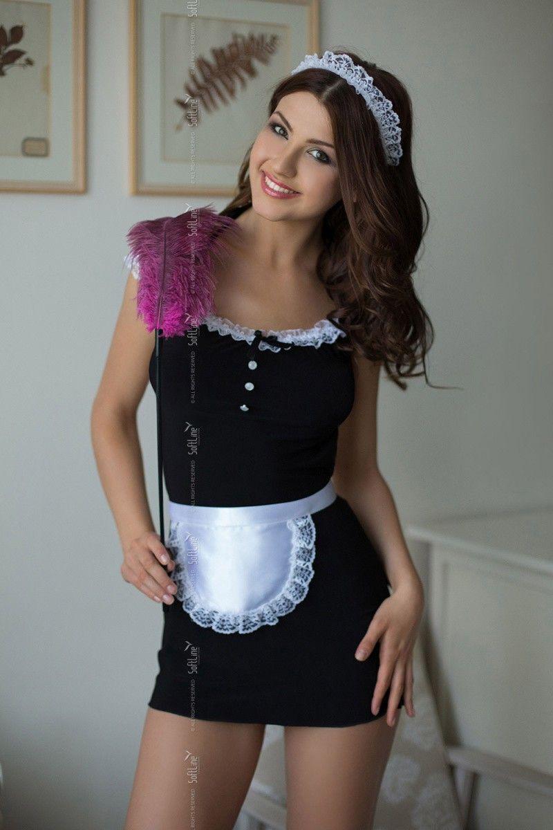 Костюм горничной SoftLine Collection Jane (платье, передник и головной убор), черный, S/M