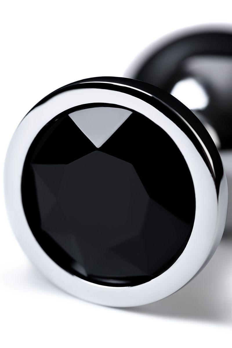 Анальный страз Metal by TOYFA, металл, серебристый, с кристаллом цвета турмалин, 8 см, Ø 3,4 см, 85 г