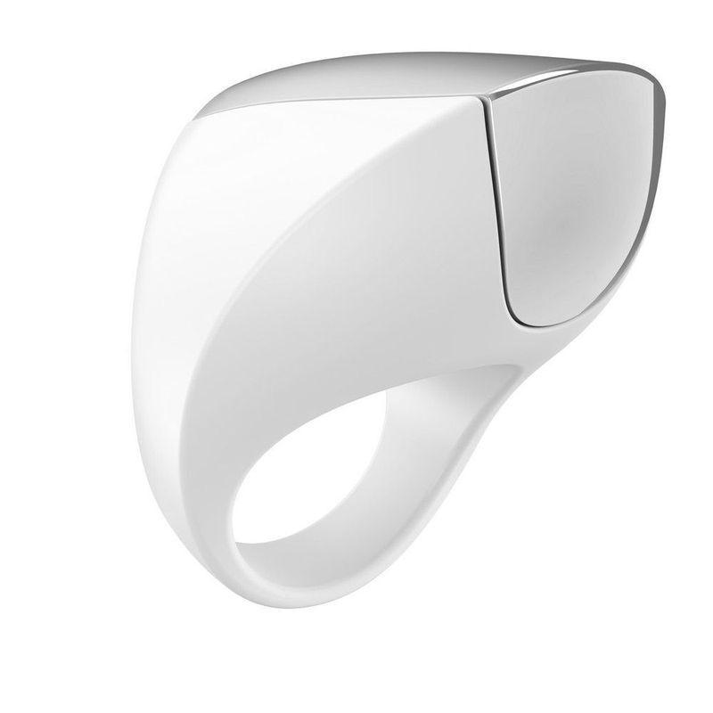 Эрекционное кольцо OVO инновационной формы с вибрацией, перезаряжаемое, силиконовое, белое, 4,7 см