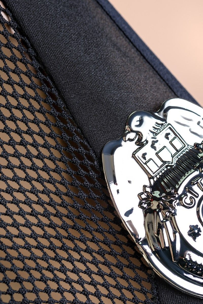 Костюм полицейского Candy Girl (топ, значок, юбка, стринги, головной убор), черный, OS