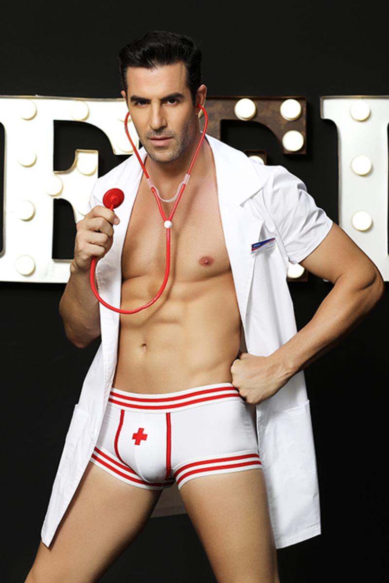Костюм доктора Candy Boy Daniel (халат, боксеры, стетоскоп, значок), бело-красный, OS