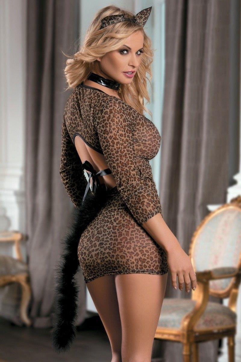 Костюм кошки Candy Girl (платье, стринги, чокер, ушки), леопардовый, OS