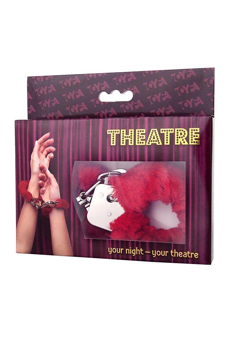 Наручники TOYFA Theatre, меховые,  красные, 28 см.