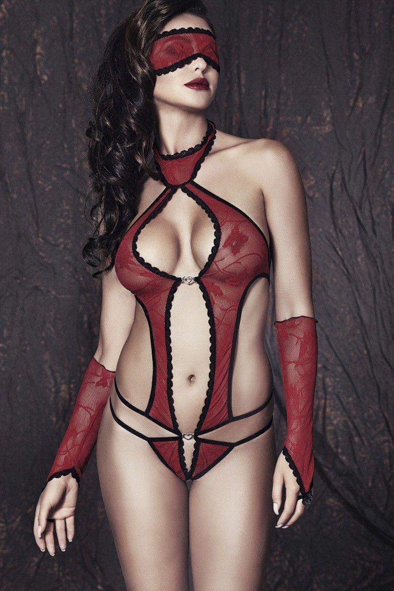 Боди, маска и перчатки Anais Ashley, красно-черный, S