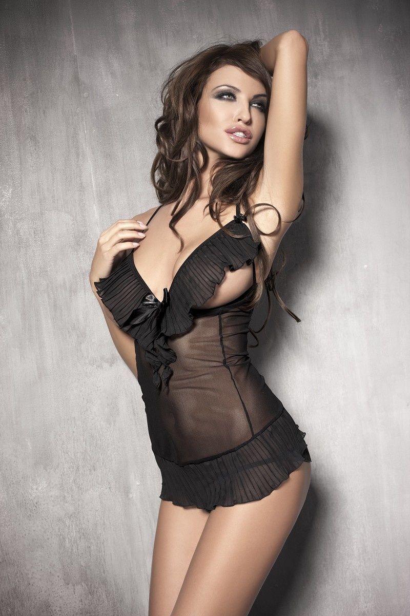 Комбинация с открытой грудью Anais Caprice и стринги, черный, S