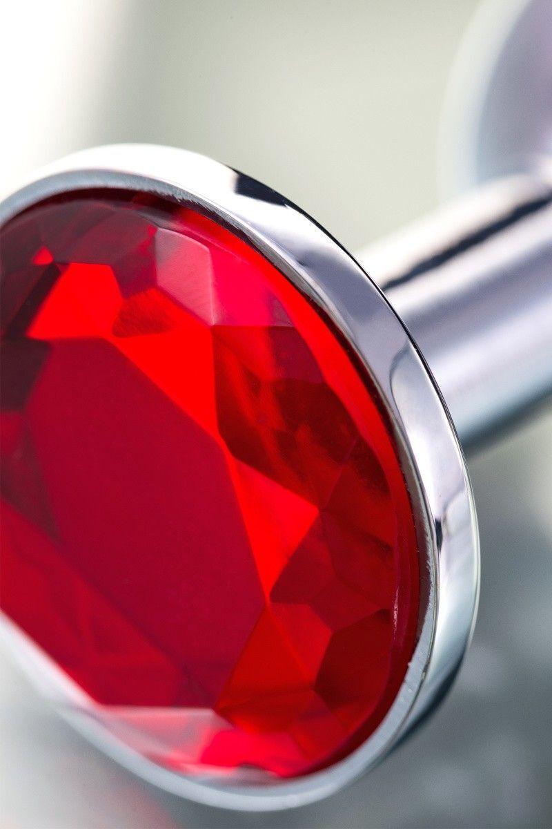Анальная втулка TOYFA Metal маленькая, серебристая, с красным кристаллом