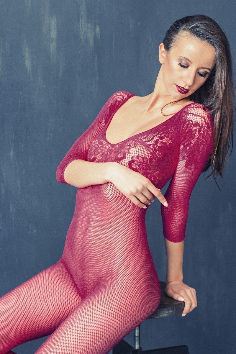 Костюм-сетка Erolanta Net Magic бесшовный с рукавами, с цветочным рисунком, розовый, S/L