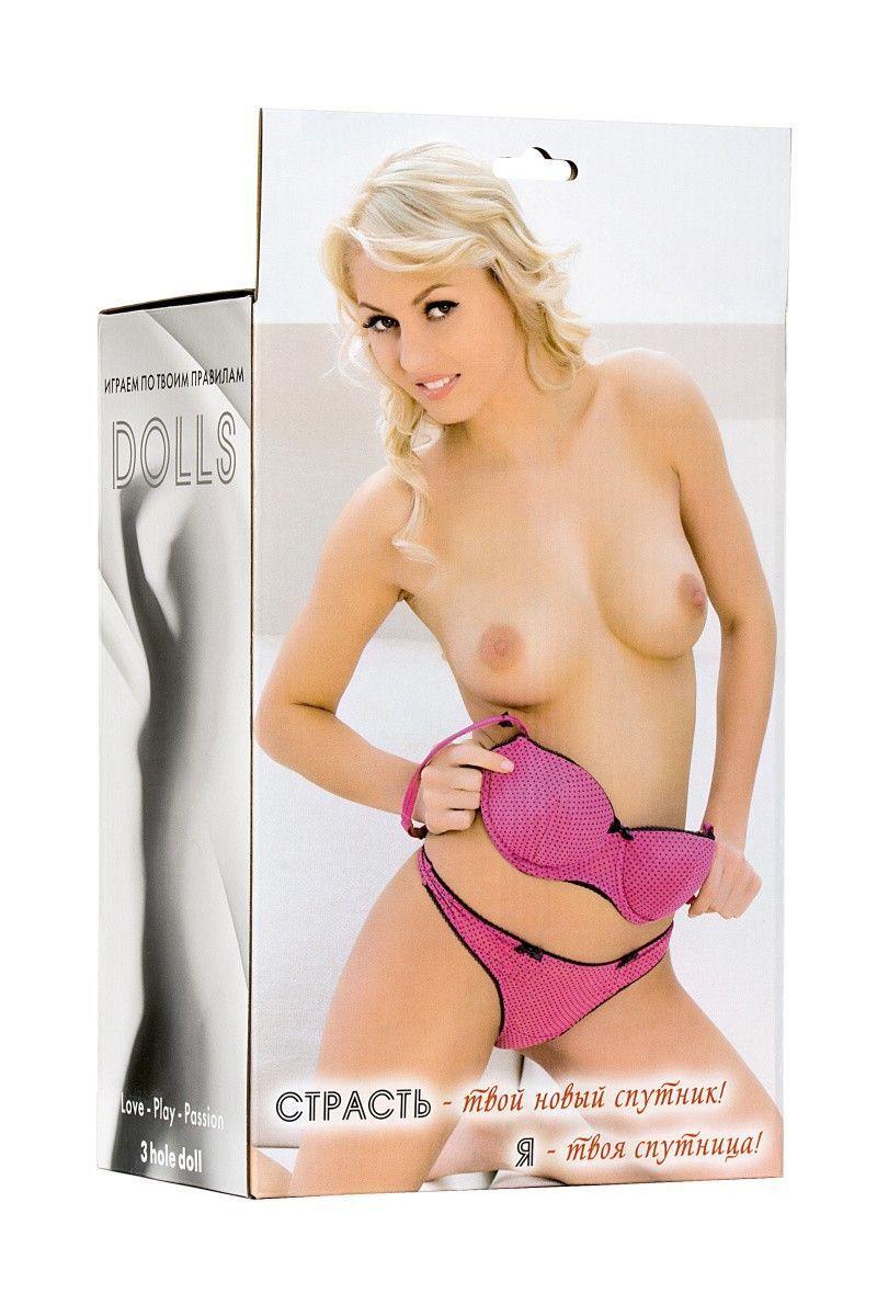 Кукла надувная Hannah, блондинка,TOYFA  Dolls-X Passion, с тремя отверстиями,  кибер вставка: вагина-анус, 160 см