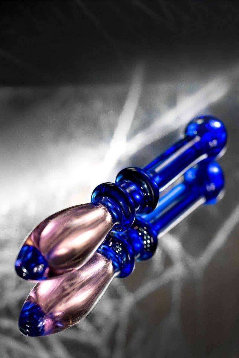 Двусторонний фаллоимитатор Sexus Glass, Стекло, 18см
