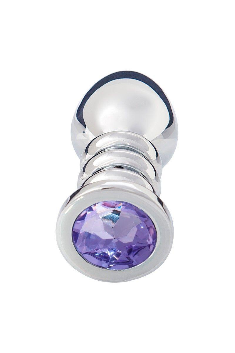 Анальная втулка, большая, серебристая, с фиолетовым кристаллом