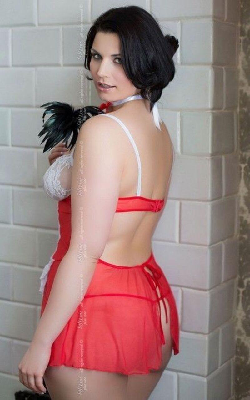 Fifi - Комбинация горничной, стринги и повязка на шею красно-белые-XL