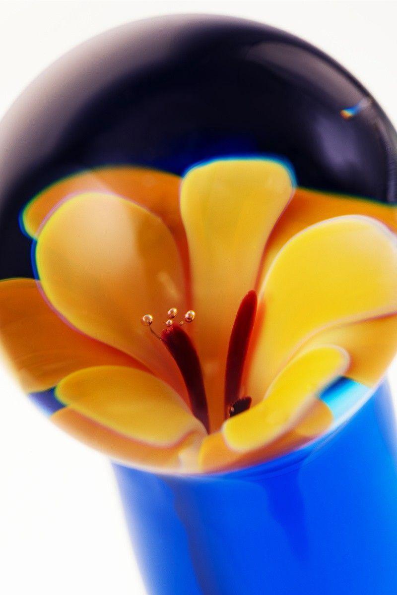 Нереалистичный фаллоимитатор Sexus Glass, Стекло, Синий, 19 см