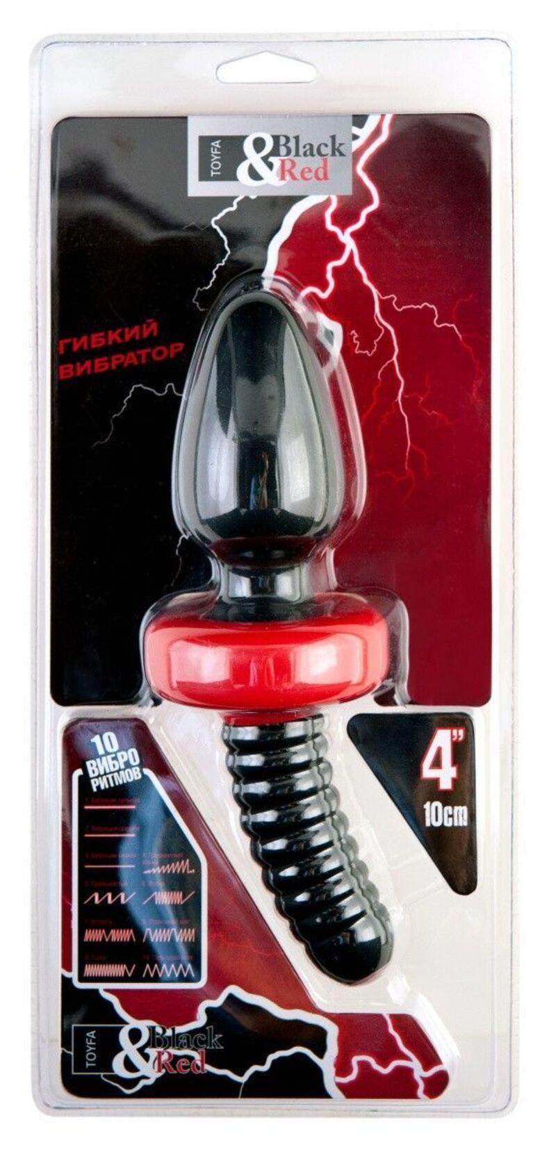Анальная вибровтулка TOYFA Black&Red для фистинга, силиконовая, черная, 10 см, Ø 5 см