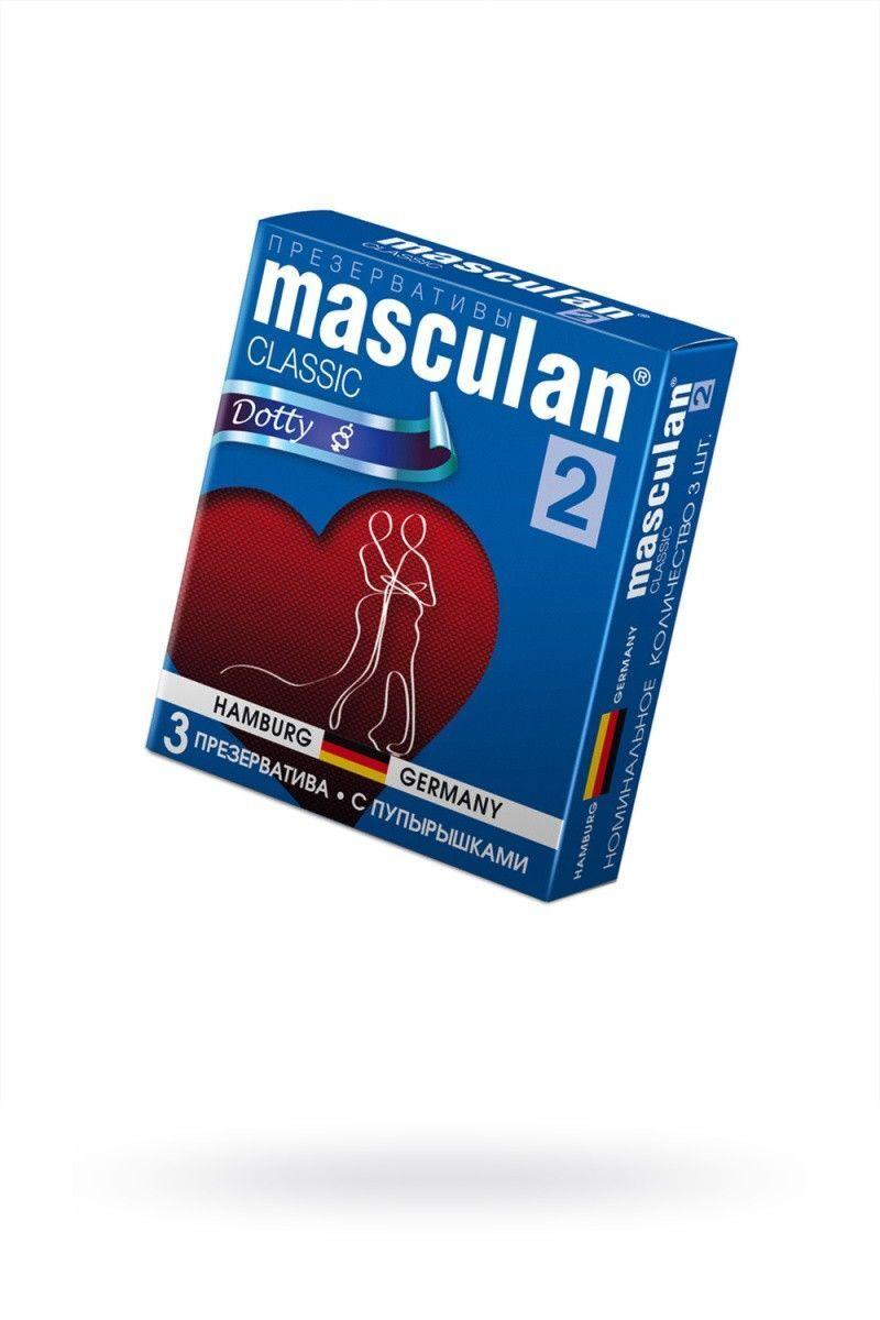 Презервативы Masculan Classic 2,  3 шт.  С пупырышками (Dotty)  ШТ