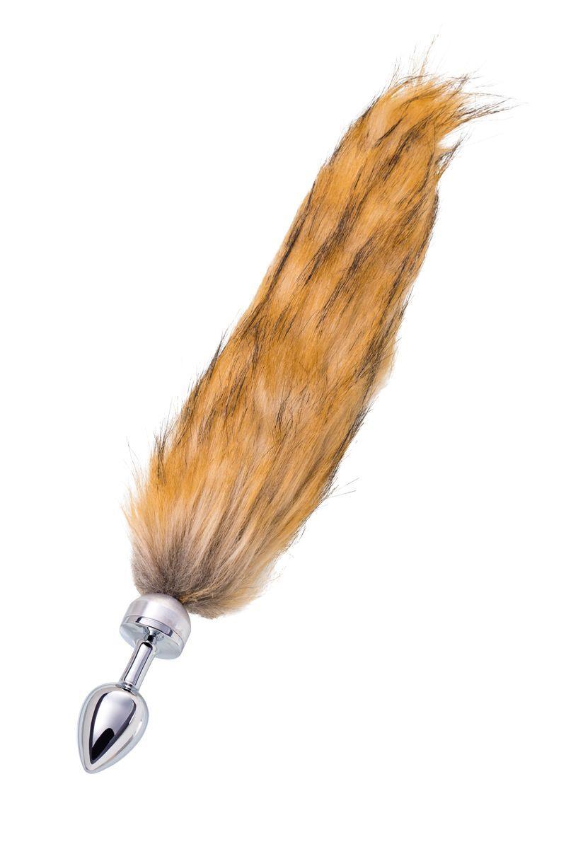 Анальная втулка TOYFA Metal маленькая, серебристая, с большим рыжим хвостом