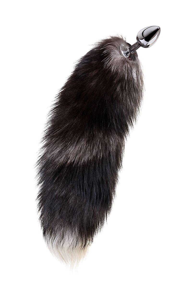 Анальная втулка Metal by TOYFA хвостом черно-бурой лисы, металл, серебристый, 45 см, Ø 2,7 см