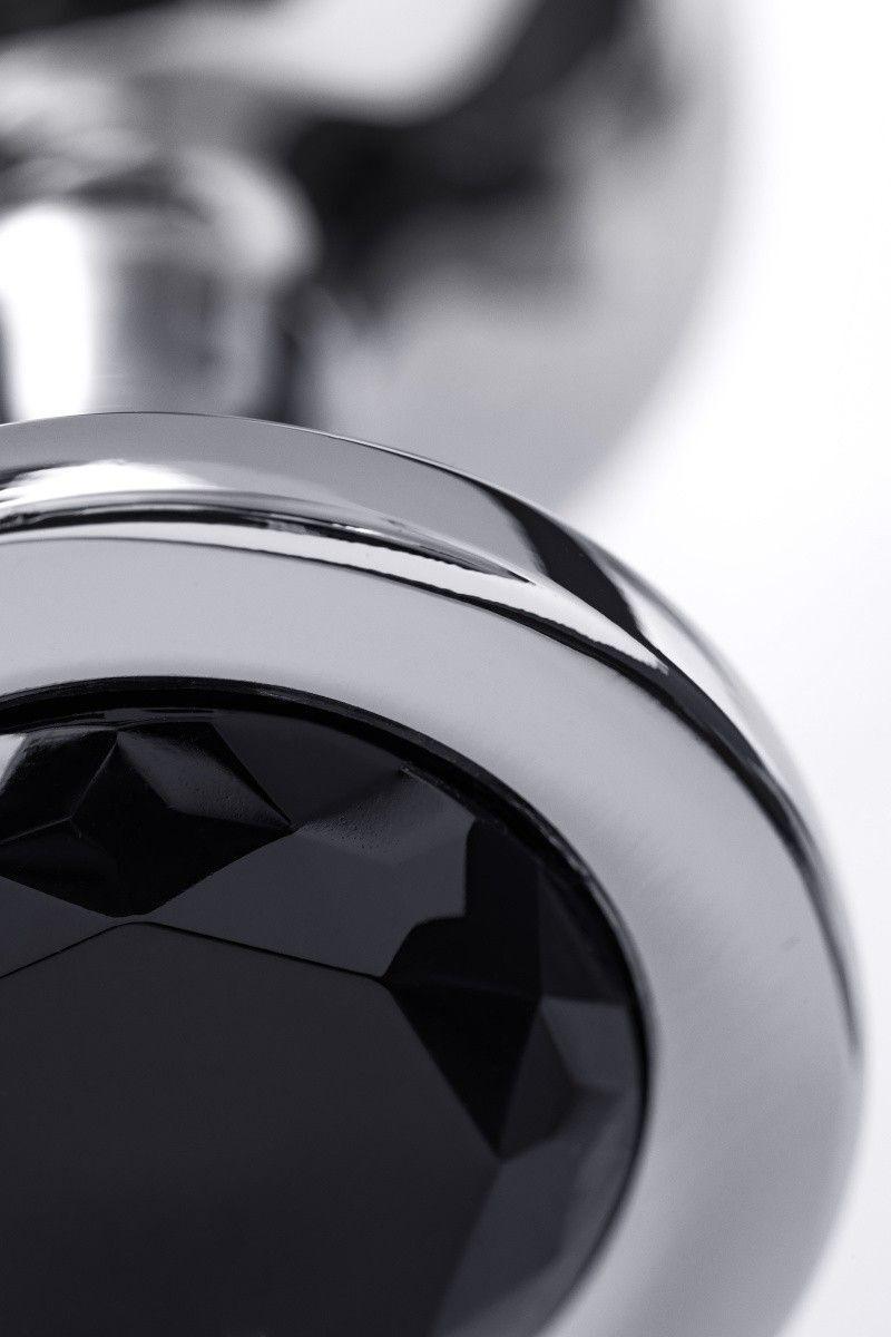 Анальная втулка TOYFA Metal большая, серебристая, с черным кристаллом
