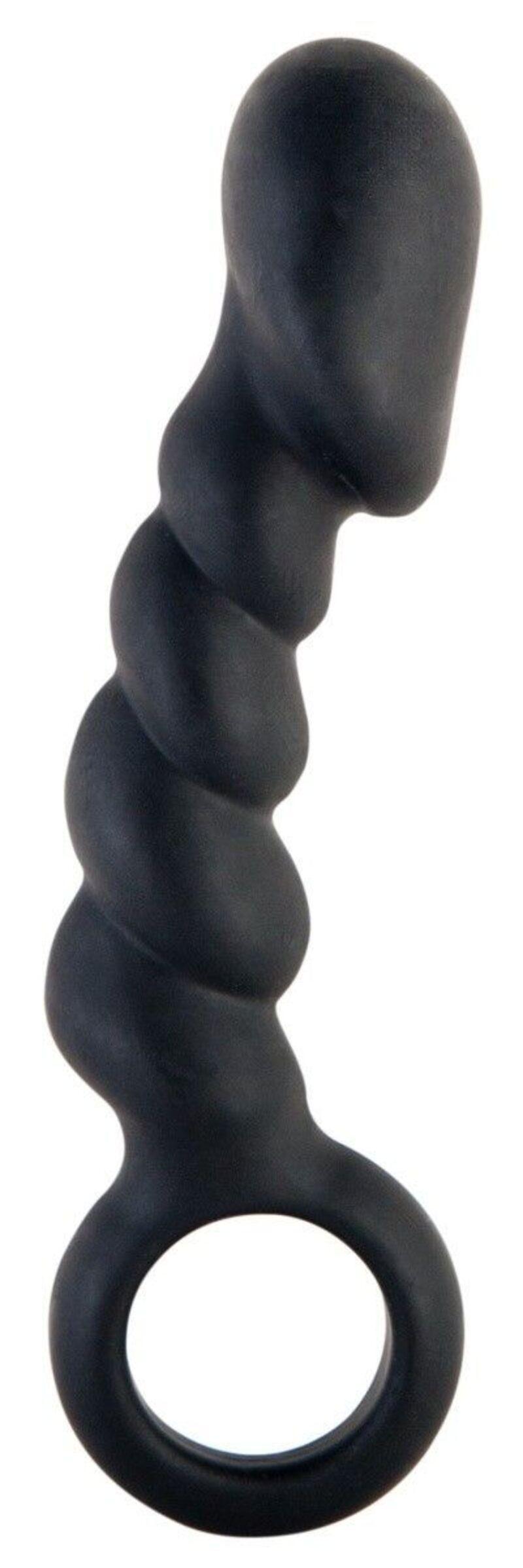 Анальный фаллоимитатор TOYFA Black&Red, силикон, чёрный, 10 см