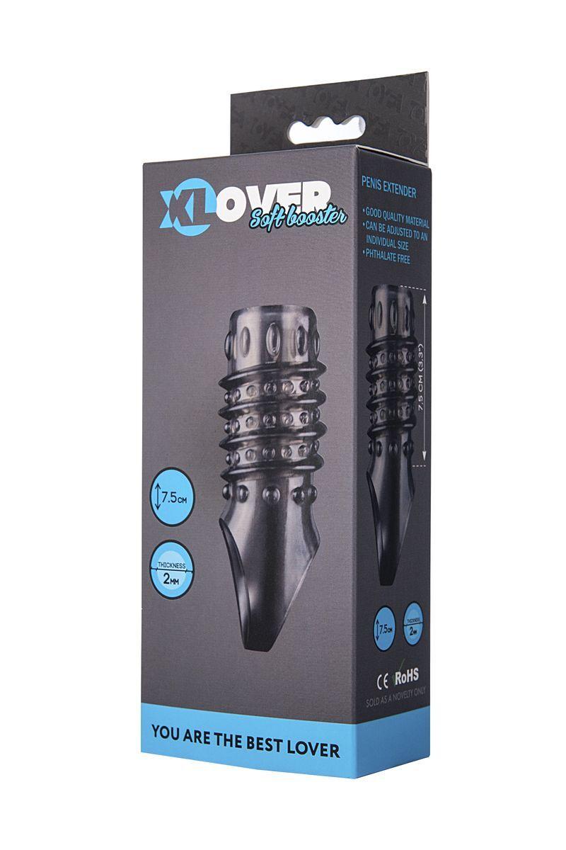 Насадка ToyFa XLover, для увеличения размера,TPE, черная прозрачная, 10,5 см