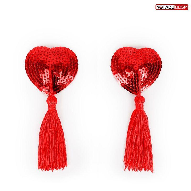 Пэстисы Notabu BDSM в форме сердец с кисточками красные