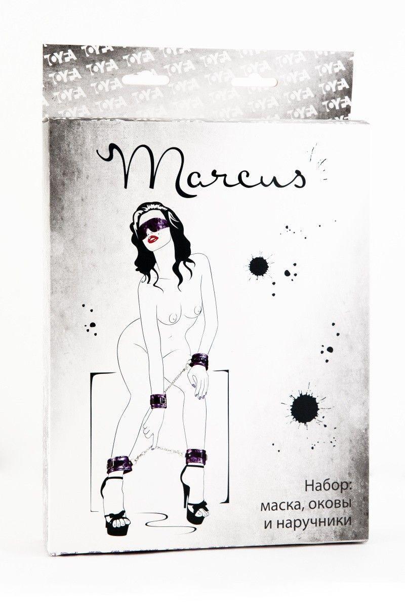 Кружевной набор TOYFA Marcus пурпурный:наручники, оковы и маска