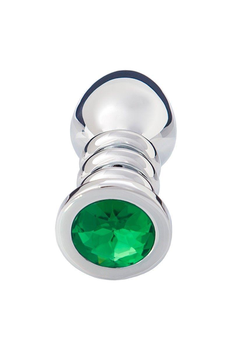 Анальная втулка большая, серебристая, с зелёным кристаллом