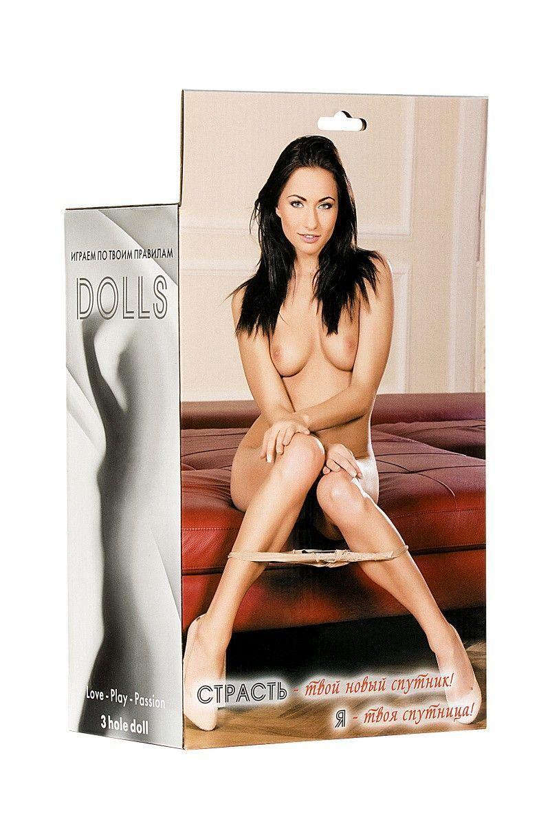Кукла надувная Violet, брюнетка,TOYFA Dolls-X Passion,  с тремя отверстиями,  кибер вставка: вагина-анус, 160 см