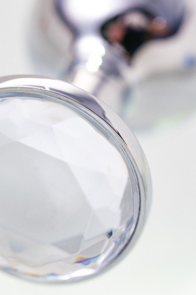 Анальная втулка TOYFA Metal маленькая, серебристая, с белым кристаллом