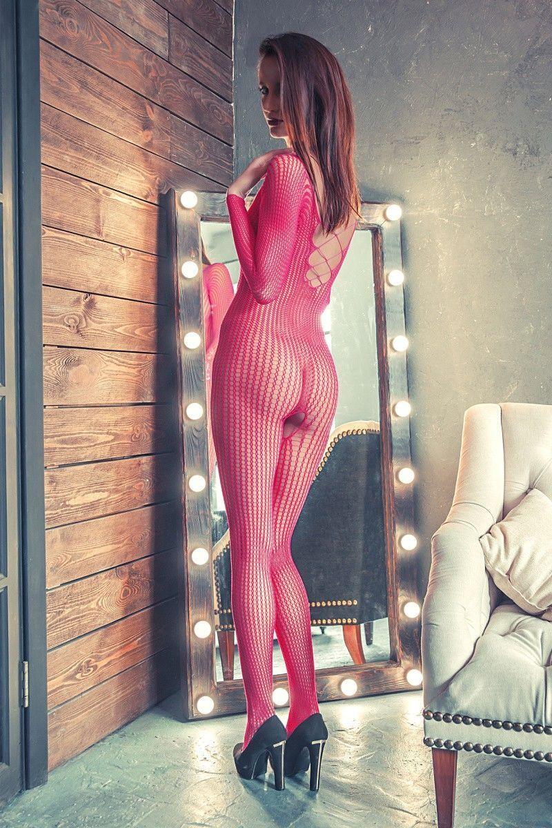 Костюм-сетка Erolanta Net Magic бесшовный с имитацией шнуровки, розовый, S/L