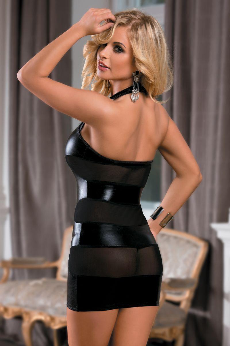 OS Платье Candy Girl, wetlook, черное