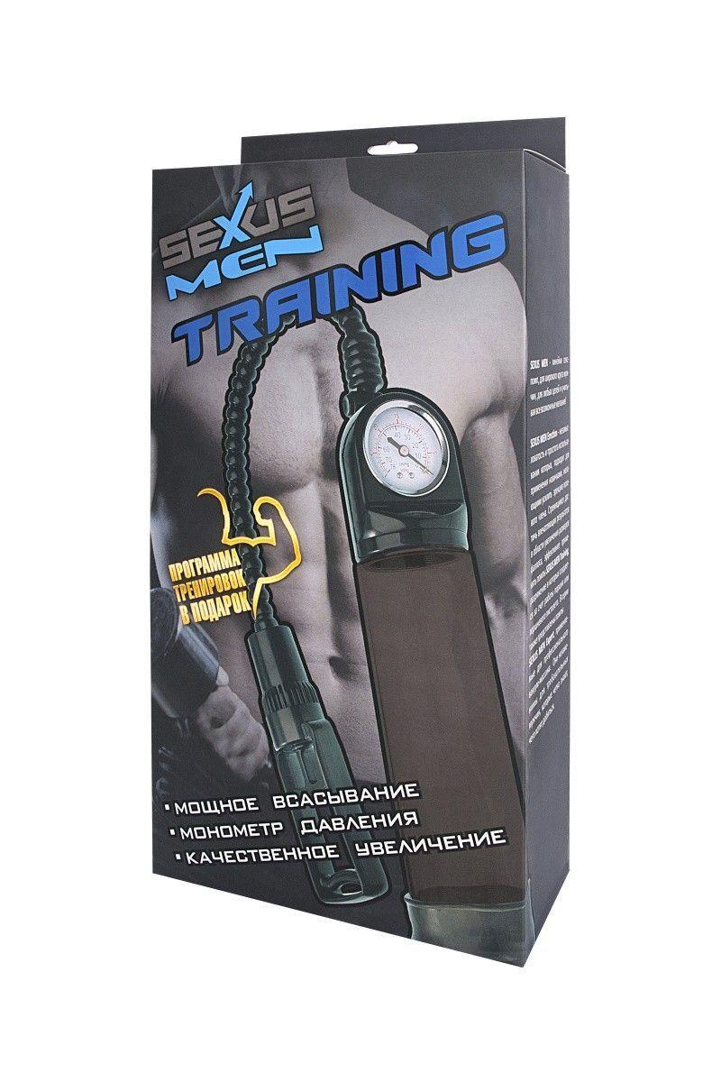 Помпа для пениса Sexus Men Training, вакуумная, механическая, с манометром, ABS пластик, чёрный, 29 см