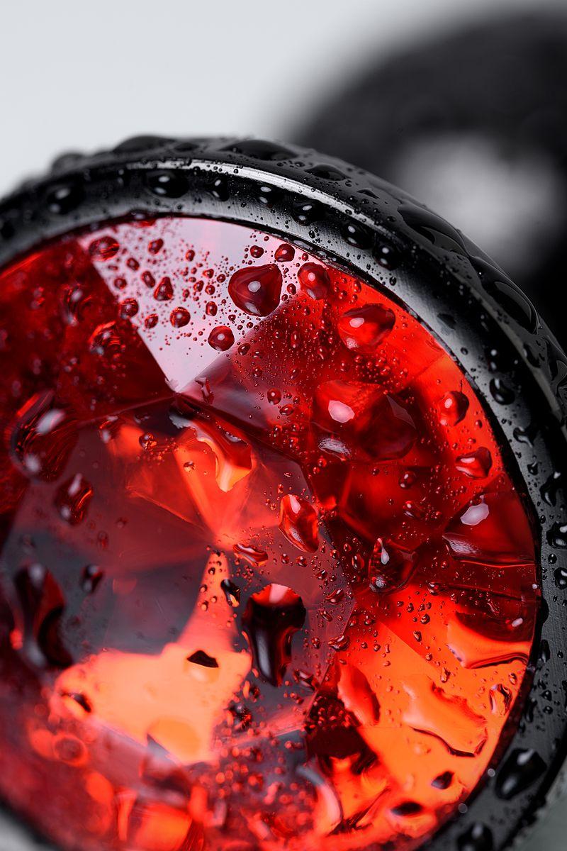 Анальный страз, TOYFA Metal, черный, с кристаллом цвета рубин, 7,2 см, Ø2,8 см, 50 г