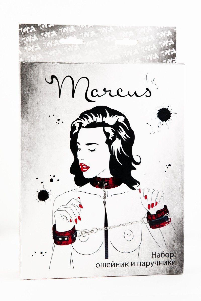 Кружевной набор TOYFA Marcus красный : ошейник и наручники