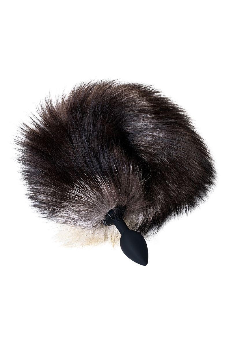 Анальная втулка с хвостом чернобурой лисы POPO Pleasure by TOYFA, S, силикон, черная, 45 см, Ø 2,7 см