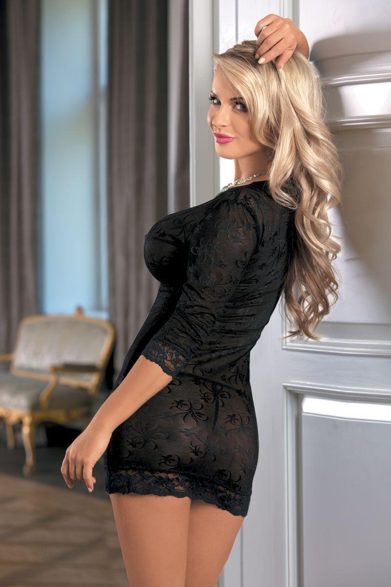 OS Ночная сорочка Candy Girl с длинным рукавом и стринги, черные