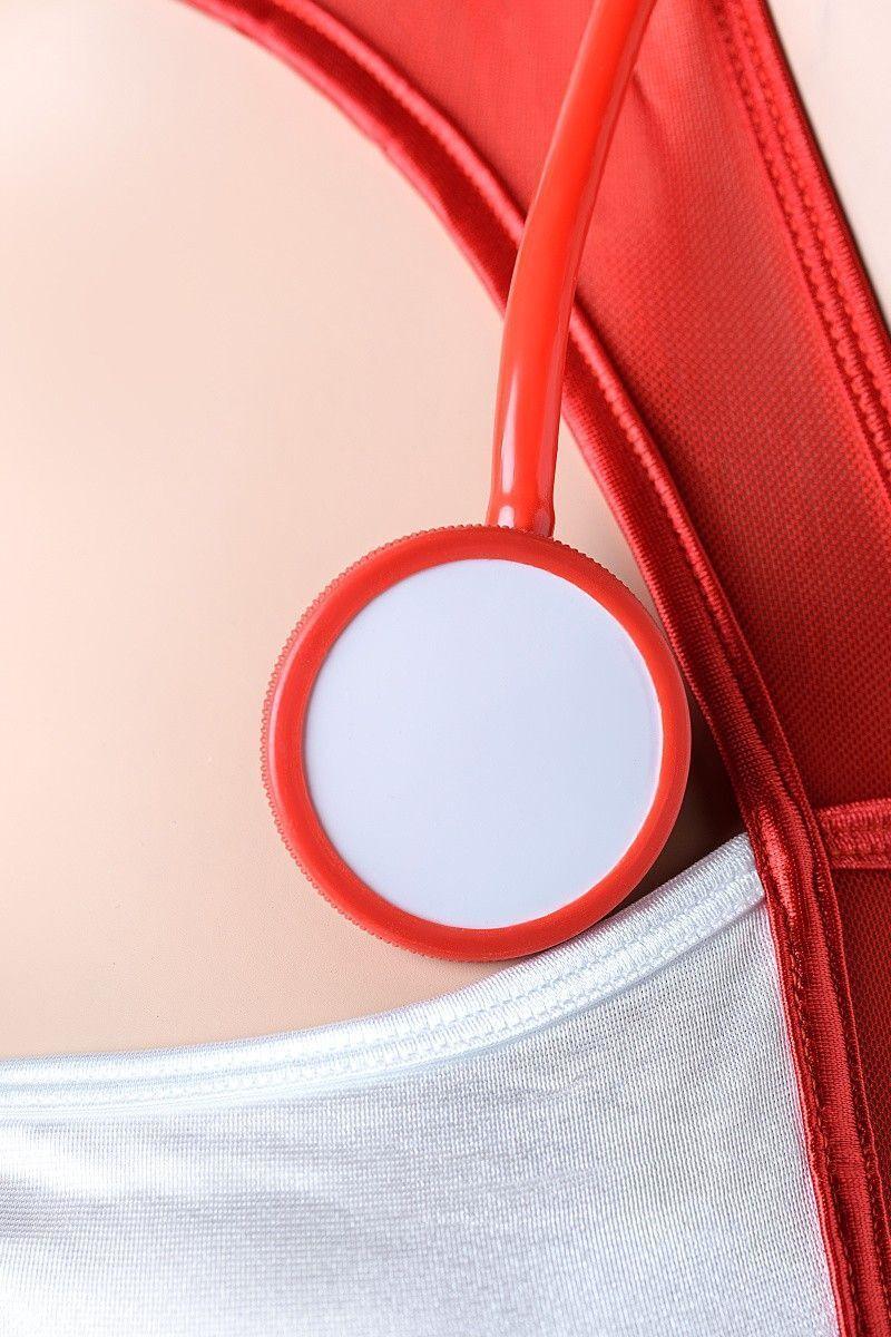 Костюм медсестры Candy Girl (платье, головной убор, стетоскоп), красно-белый, OS