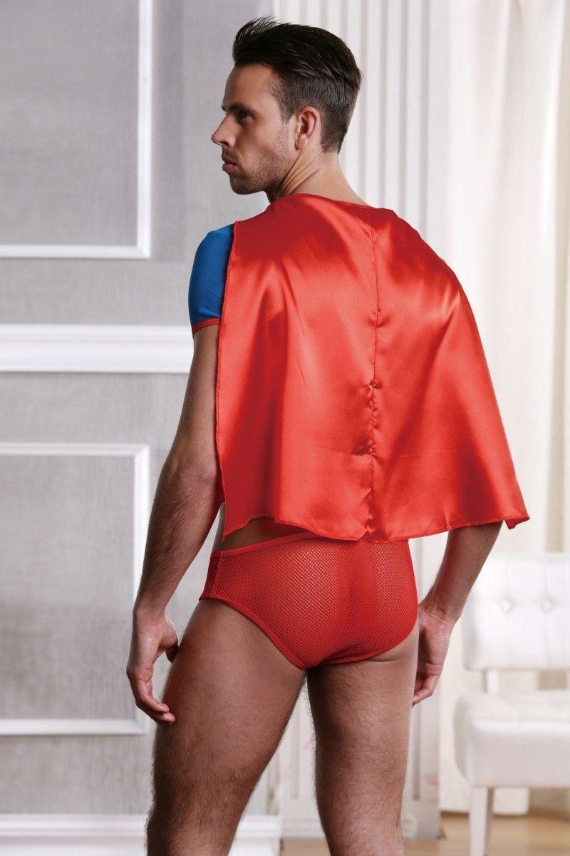 Костюм супермена Candy Boy (футболка с плащем, трусы), красно-голубой, OS