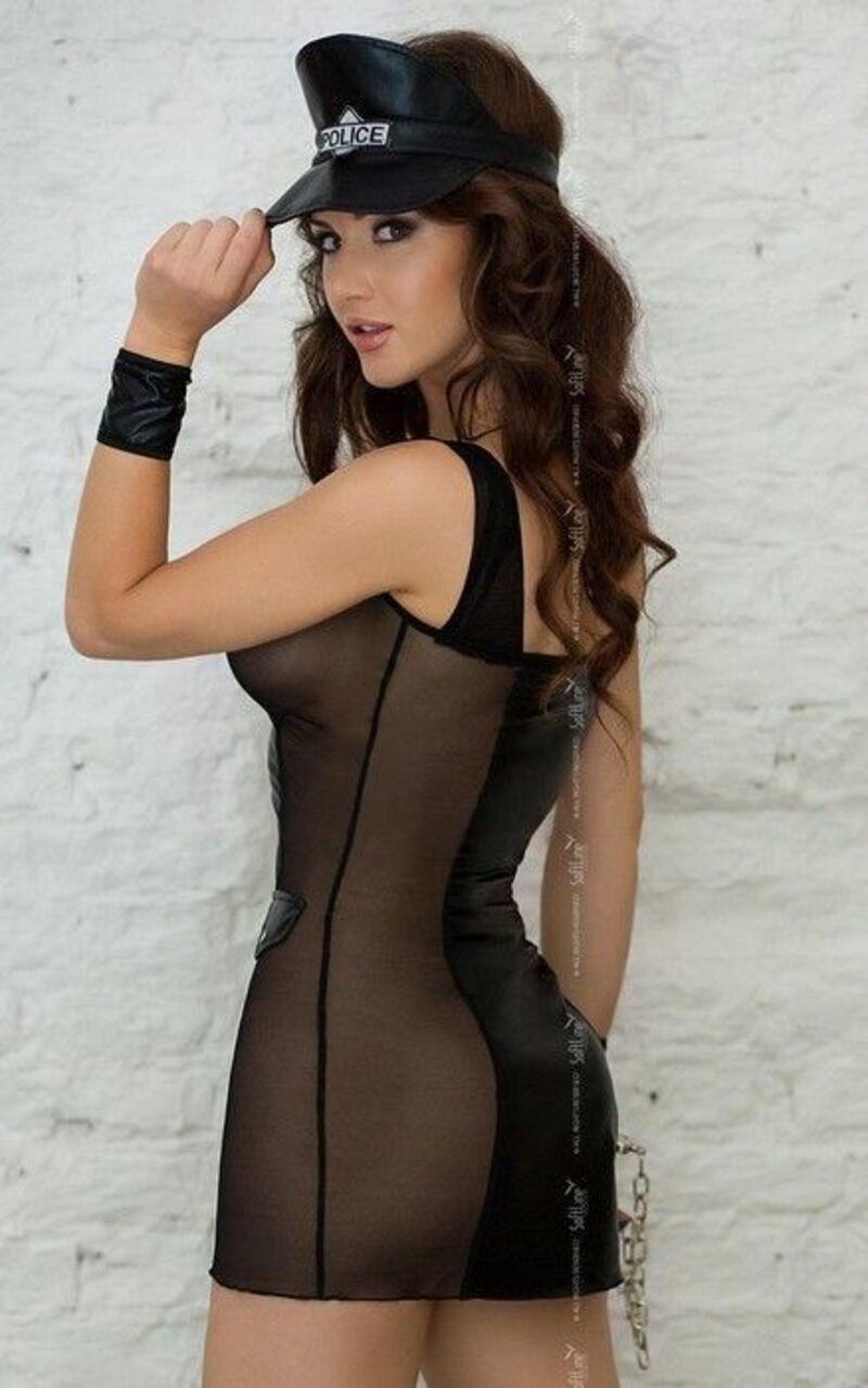 Костюм полицейского SoftLine Collection Polly (платье, манжеты и головной убор), черный, M/L