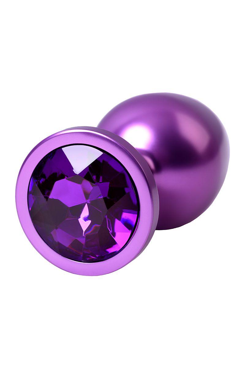 Анальный страз Metal by TOYFA, металл, фиолетовый, с кристалом цвета аметист 8,2 см, Ø3,4 см, 85 г.