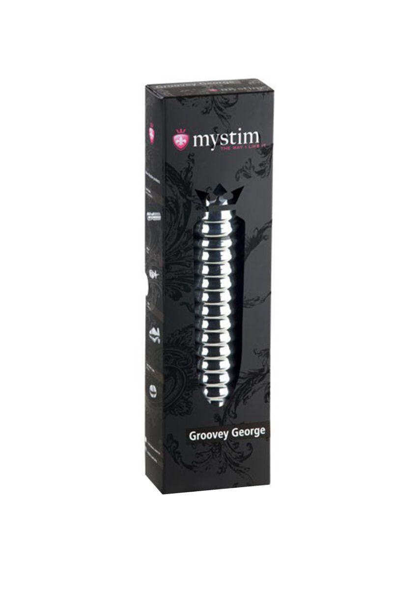 Электростимулятор фаллоимитатор Mystim Groovey George, хирургическая сталь, серебристый, 20 см
