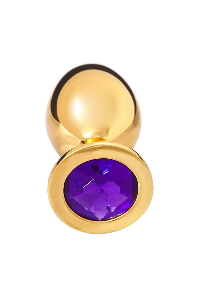 Анальная втулка, большая, золотая, с фиолетовым кристаллом