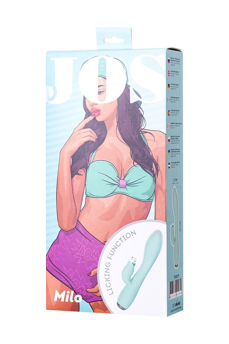 Вибратор с клиторальным стимулятором и язычком, JOS MILO, силикон, мятный, 20 см