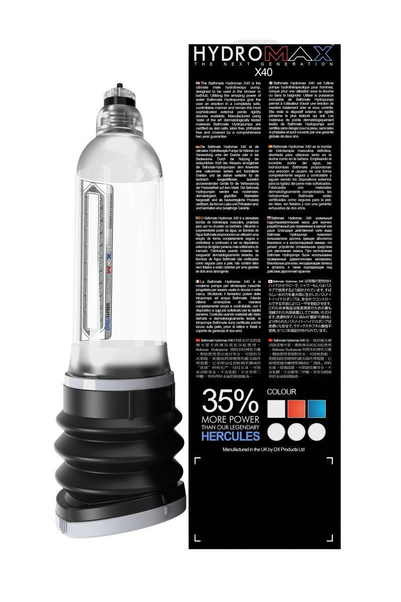 Гидропомпа Bathmate Hydromax X40, прозрачная, 32,5 см