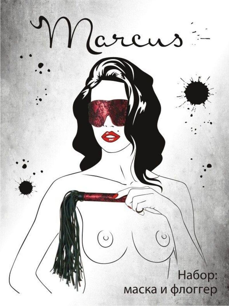 Кружевной набор TOYFA Marcus  красный : маска и флоггер