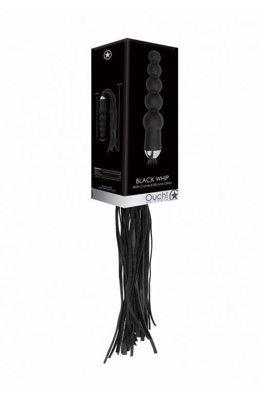 Анальная елочка с плеткой черная 18 см
