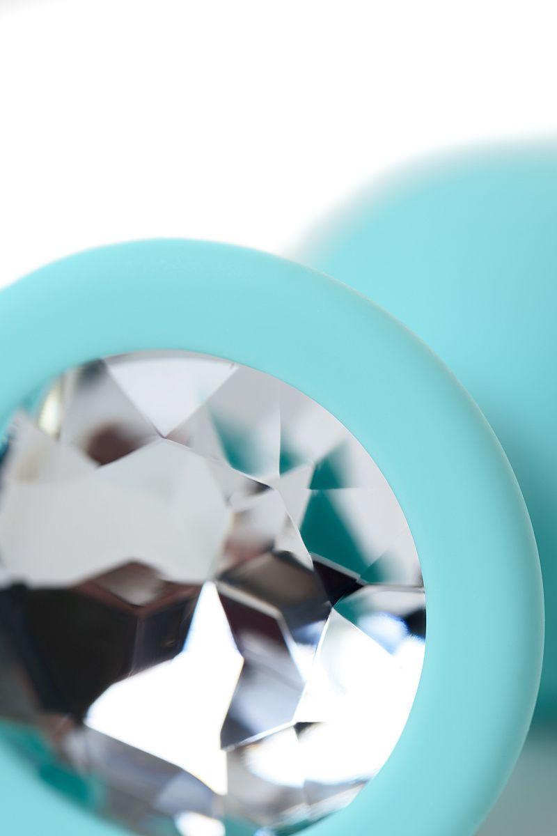 Анальный страз Штучки-Дрючки, мятный, с прозрачным кристаллом, силикон, 2,7 см