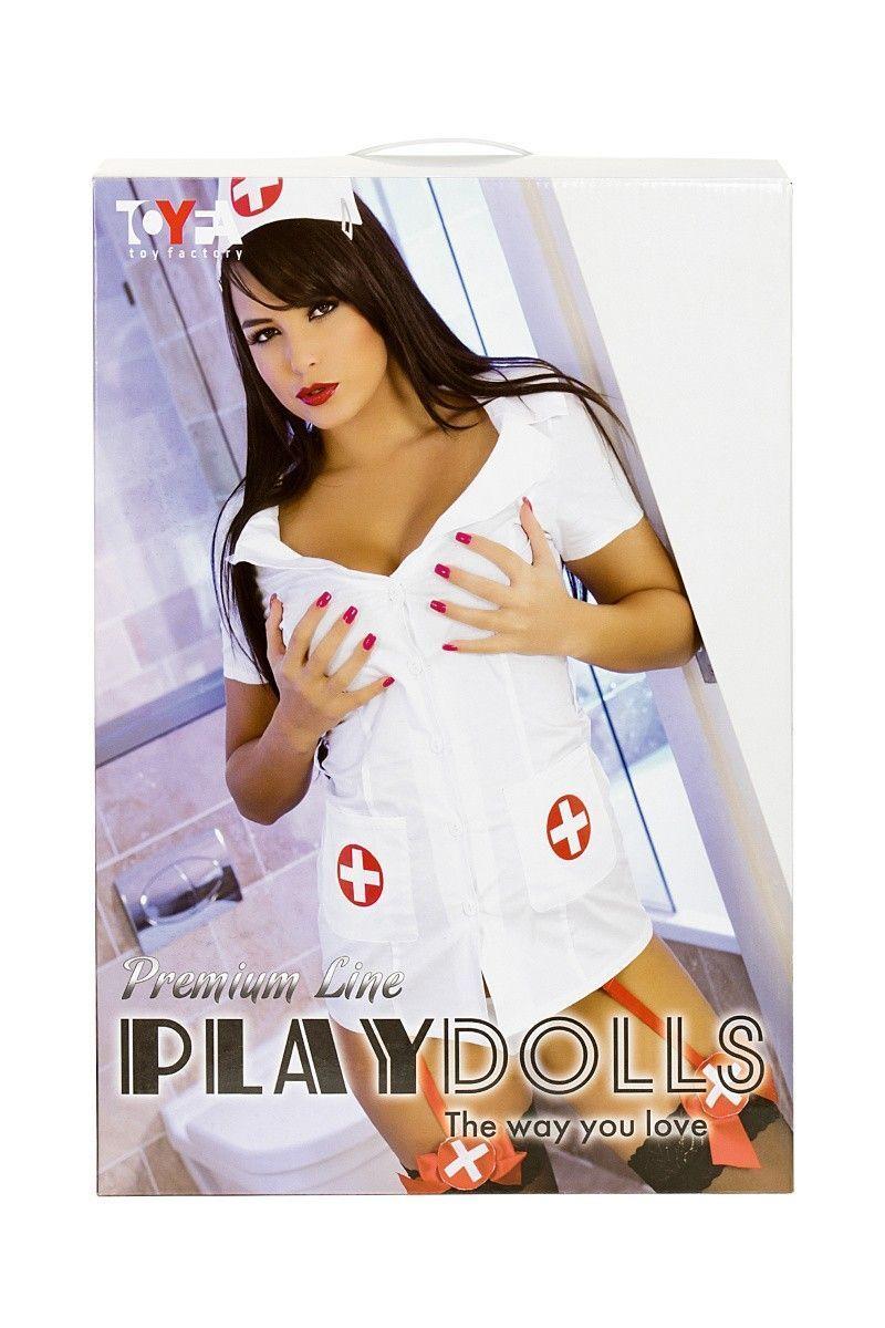 Кукла надувная Nurse Emilia реалистичная голова,брюнетка, TOYFA Dolls-X, с двумя отверстиями,вставка: вагина- анус,костюм медсестры, 160 см