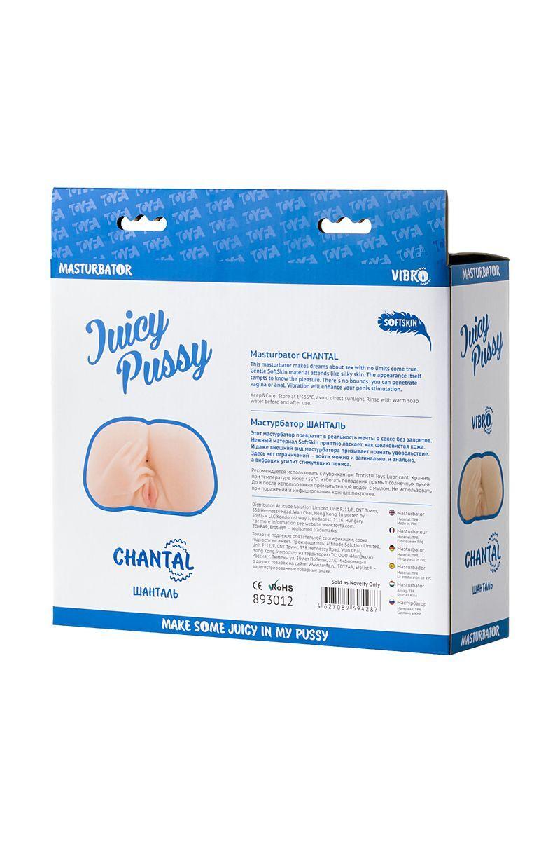 Мастурбатор реалистичный TOYFA Juicy Pussy Chantal с вибрацией, вагина и анус, TPR, телесный, 14,5 см